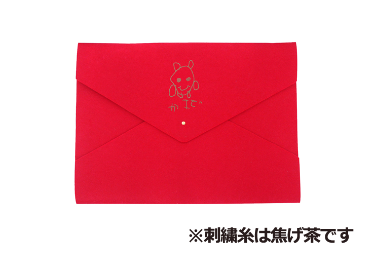 D-fel  レッド(刺繍糸焦げ茶)
