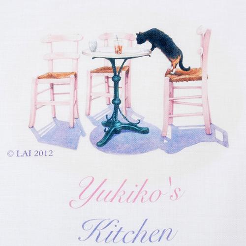 名入れキッチンタオル- 猫とテーブル