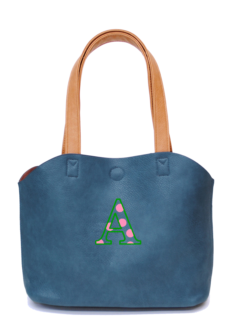 ブルー 刺繍カラー:グリーン×ピンク