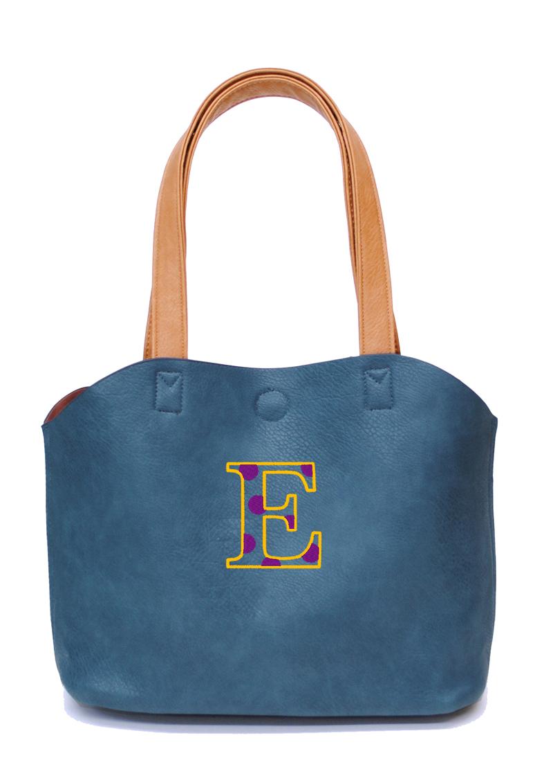 ブルー 刺繍カラー:イエロー×パープル