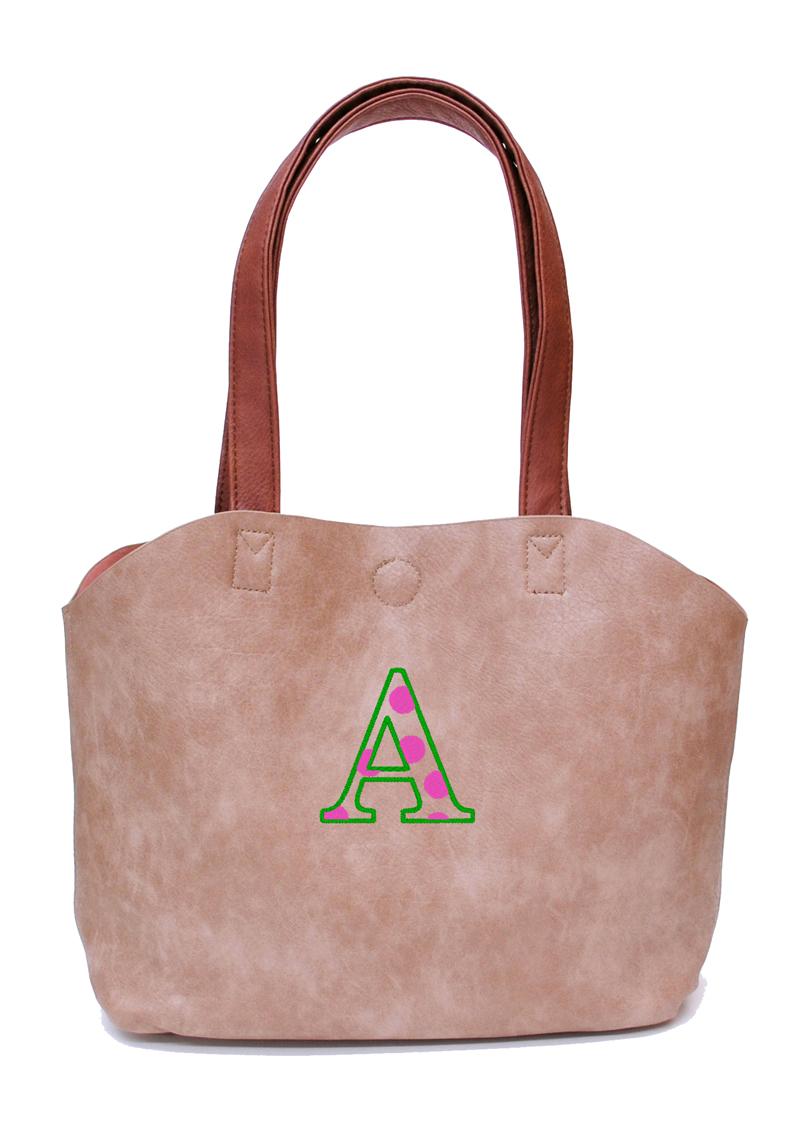 ベージュ 刺繍カラー:グリーン×ピンク
