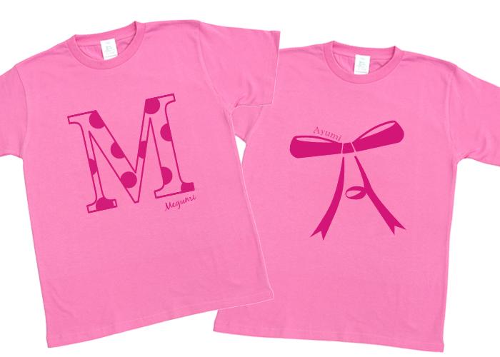 お名前イニシャルTシャツ-オ ピンク