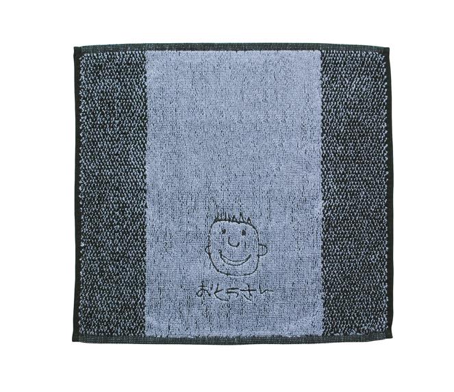 似顔絵刺繍ハンドタ グレー 刺繍糸黒