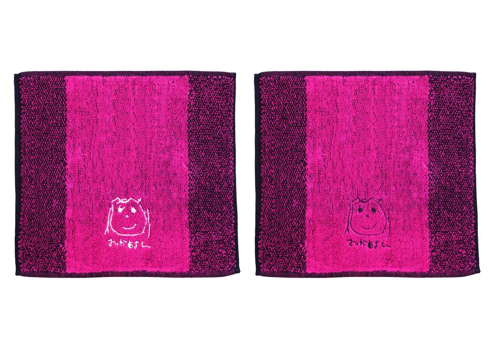 似顔絵刺繍 ピンク×2 刺繍糸白、黒
