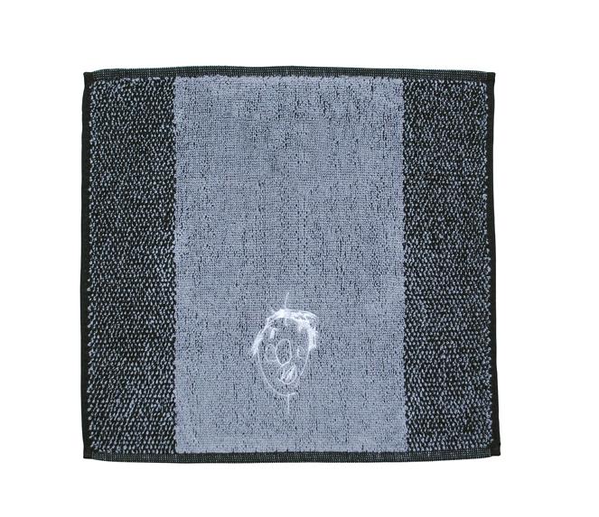 似顔絵刺繍ハンドタ グレー 刺繍糸白