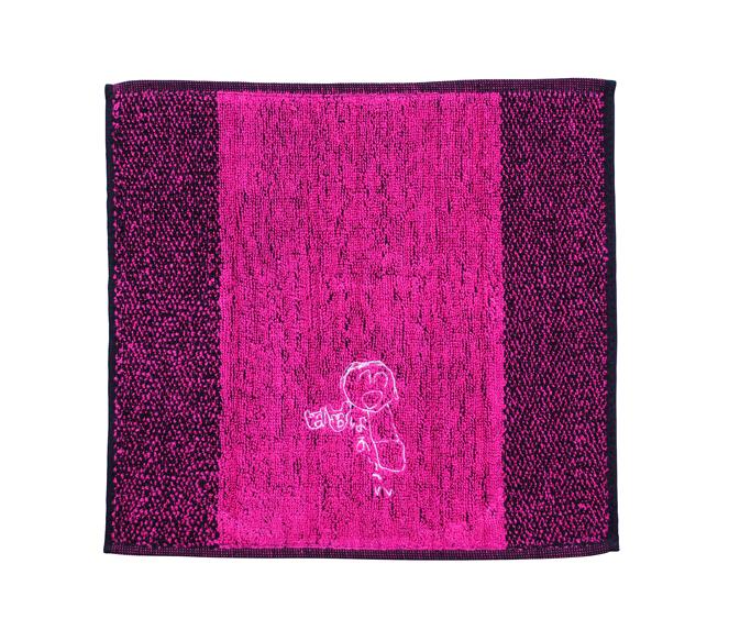 似顔絵刺繍ハンドタ ピンク 刺繍糸白