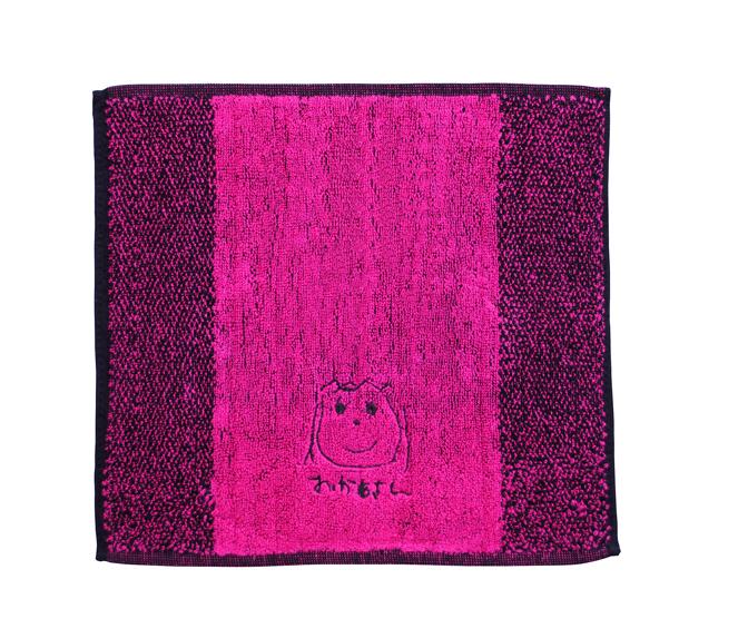 似顔絵刺繍ハンドタ ピンク 刺繍糸黒