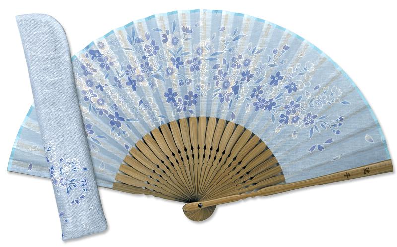 名入れ扇子差し袋セット 藍の彩り 桜