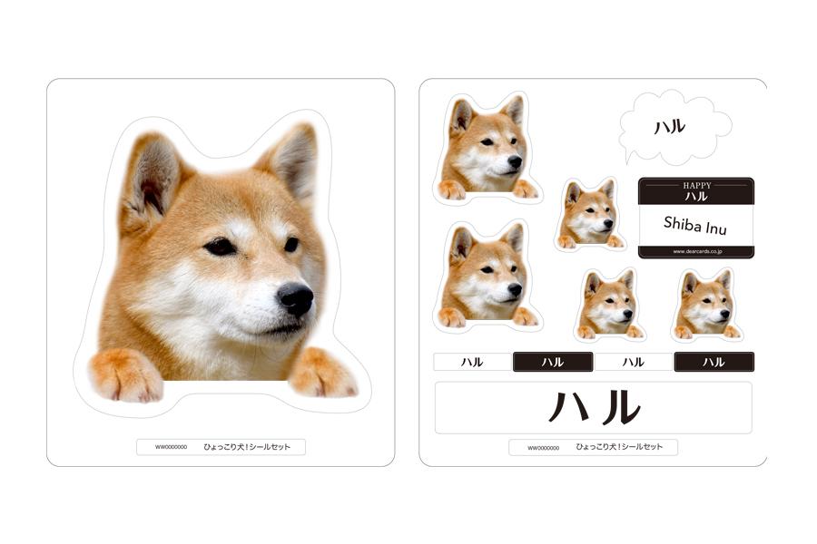 柴犬:手の色(ベージュ):シールカラー(ブラック&ホワイト)