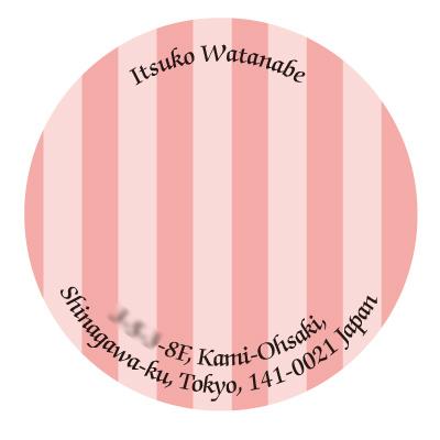 丸形アドレス ストライプ(濃ピンク)