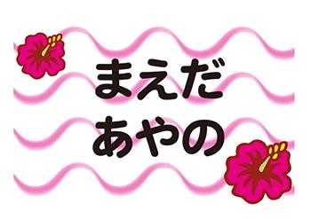 布団用お名前シート-マ ハイビスカス