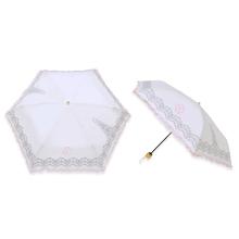 イニシャル刺繍 晴雨兼用折畳み傘 フリル&レース刺繍