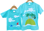 お名前親子ペアTシャツ-小さなヤシの木の島で
