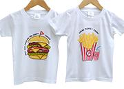 お名前ペアTシャツ-ハンバーガー & ポテト