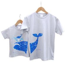 お名前親子ペアTシャツ-おやクジラこクジラ